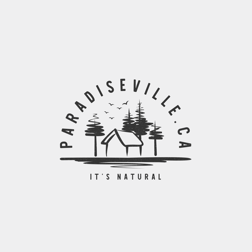 Cottage logo with the title 'Paradiseville.ca Logo'