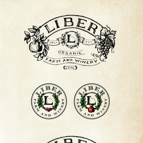 Grape design with the title 'Logo and variants for a farm/winery'