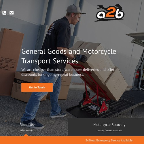 Full-screen website with the title 'Clean concept for delivery company'