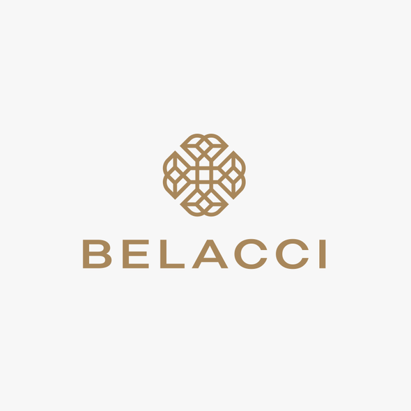 Abstract art logo with the title 'BELACCI'