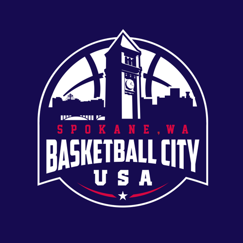 USA logo with the title 'Basketball association logo for Basketball City, U.S.A. Spokane, WA'