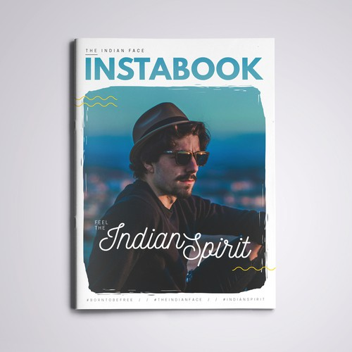 Interactive PDF design with the title 'Magazine Cover for The Indian Face Instabook'