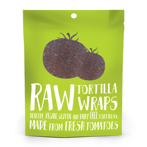 Fun packaging with the title 'Raw Tortilla Wraps'