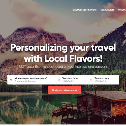 Tourism website with the title 'Website for travel service provider'
