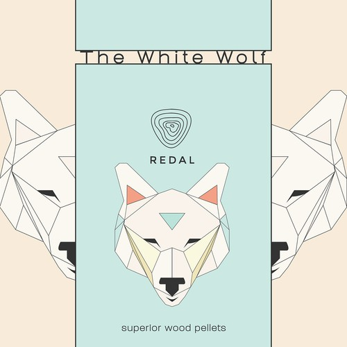 Geometric illustration with the title 'White Wolf illustration for packaging'