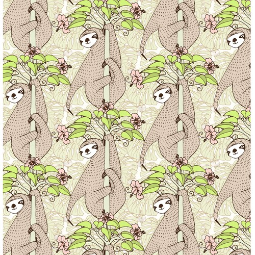 Sloth design with the title 'Seamless sloth pattern'