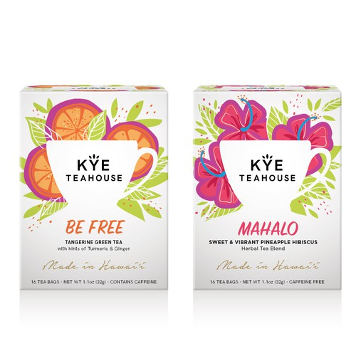 Health packaging with the title 'Hawaiian herbal tea redesign'