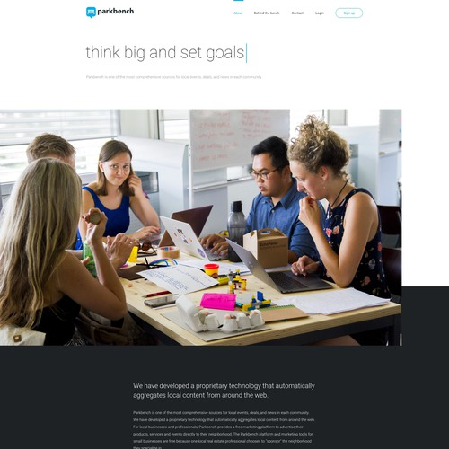 Team website with the title 'Website Design for Parkbench'