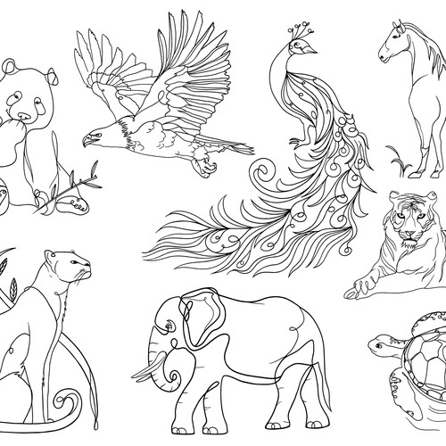 Animal design with the title 'Animals Line-Art'
