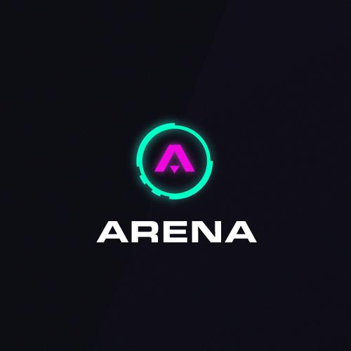 Futuristic logo with the title 'Arena '