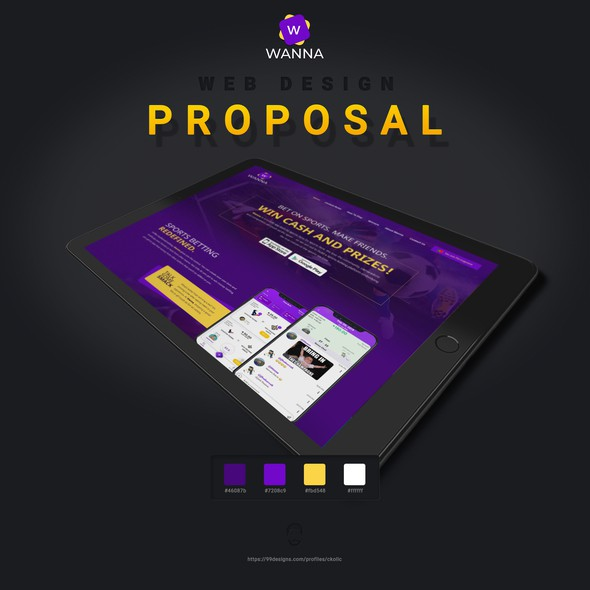 Yellow and purple design with the title 'Wanna - a social focused online gambling site'