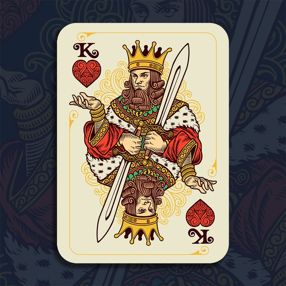 Retro artwork with the title 'Vintage Playing Card Design'