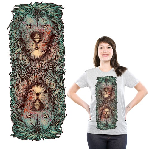 Hand-drawn t-shirt with the title 'lion illussion'