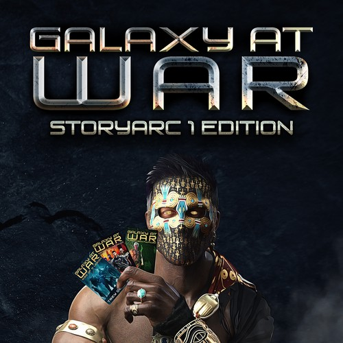 Futuristic book cover with the title 'Galaxy at War'