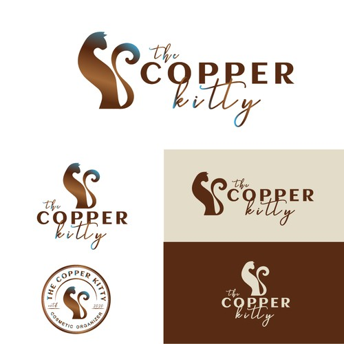 Kitty logo with the title 'Exquisite logo design THE COPPER KITTY'