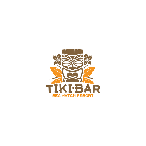 Beach bar logo with the title 'Logo for an oceanfront tiki bar '