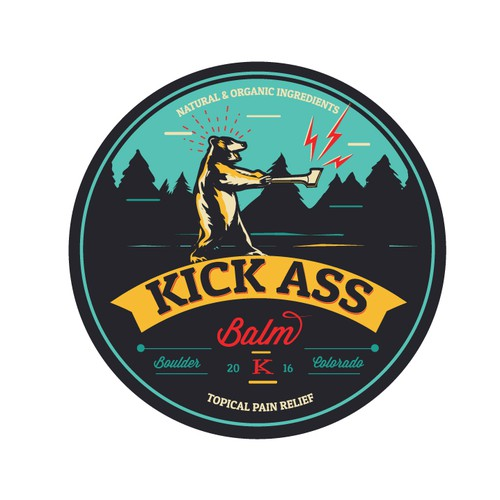 Bear logo with the title 'Kick Ass Balm logo'
