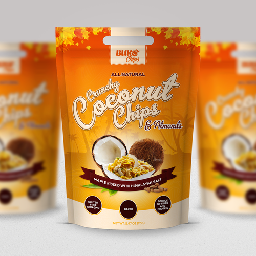 Orange and brown design with the title 'BUKO Coconut Chips'