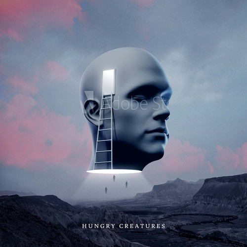 Synthwave design with the title 'Album cover for acoustic / electronic band - Hungry Creatures'
