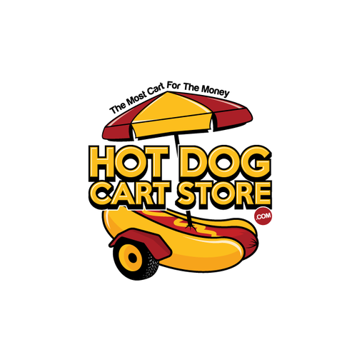 Hot dog logo with the title 'HOT DOG CART STORE'