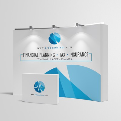 Create a modern, sleek booth for a financial advisory firm