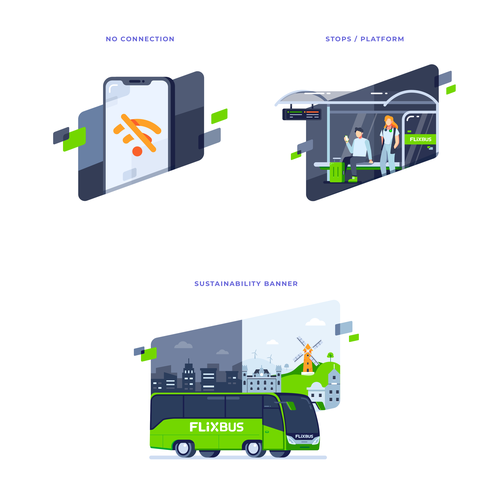 Bus design with the title 'Illustrations Set for Flixbus'