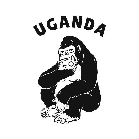 Monkey illustration with the title 'Ugandan Handsome Gorilla '
