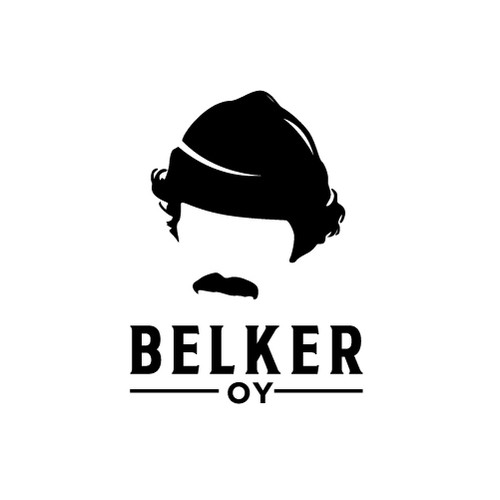 Moustache design with the title 'Belker Oy'