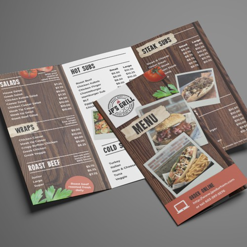 Concrete design with the title 'Rustic menu design'