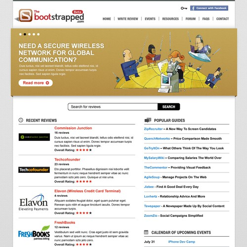 Portal website with the title 'Bootstrapped: home page redesign'