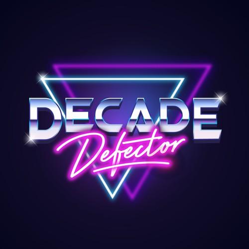 Neon logo with the title 'Retro Logo for Decade Defector band'