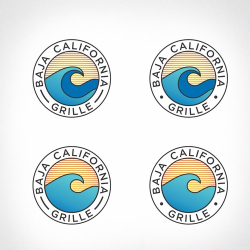 Surfing logo with the title 'Baja California grille'