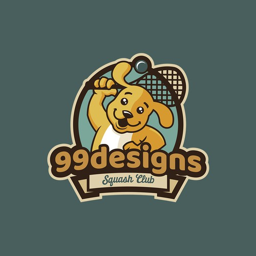 Tennis ball logo with the title 'Character logo design for 99d squash team'