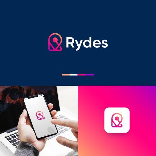 Destination design with the title 'Logo concept for Rydes'