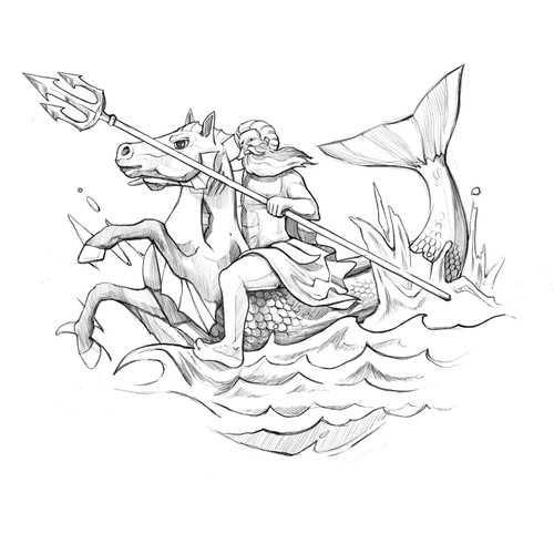 Black and white illustration with the title 'Poseidon'