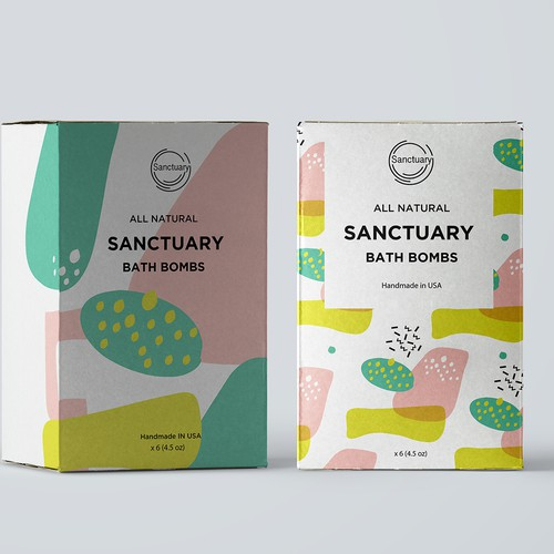 Bath design with the title 'packaging design for bath bombs'