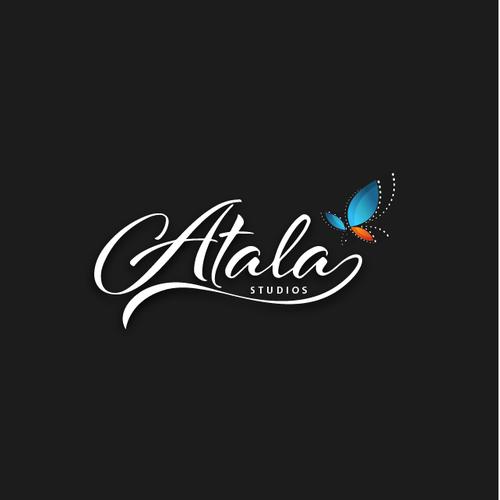 Blue and orange logo with the title 'Cinema Film Studio Logo - Atala Studios'