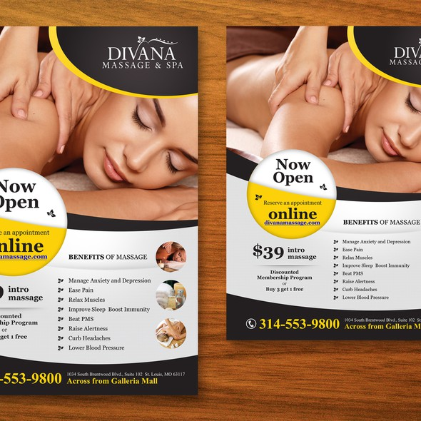 Handout design with the title 'Poster for Massage Therapy Spa'