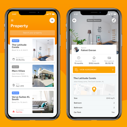 Hospitality design with the title 'UI/UX Design for Property Rental App'