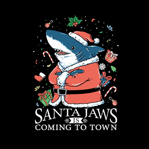 Ocean t-shirt with the title 'Santa Jaws'