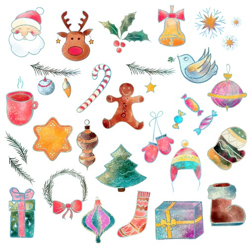 Christmas illustration with the title 'Christmas stickers'