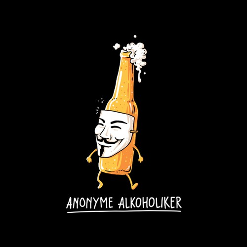 Beer t-shirt with the title 'Anonyme Alkoholiker'