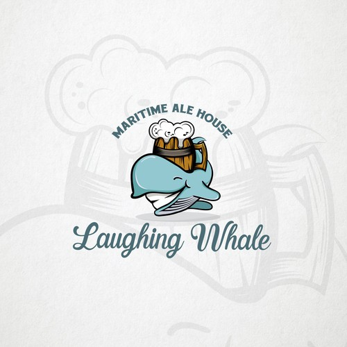 Cultural club logo with the title 'Laughing whale - Logo for the Pub'