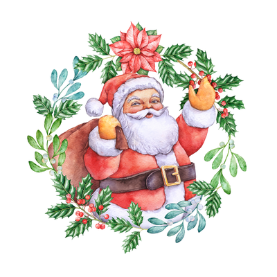 Hand drawn design. Hand-drawn watercolor illustration. Christmas theme, Santa. For Christmas cards, Christmas presents, Christmas packaging