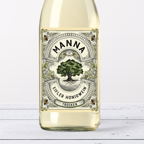 Wine label with the title 'Honey mead label'