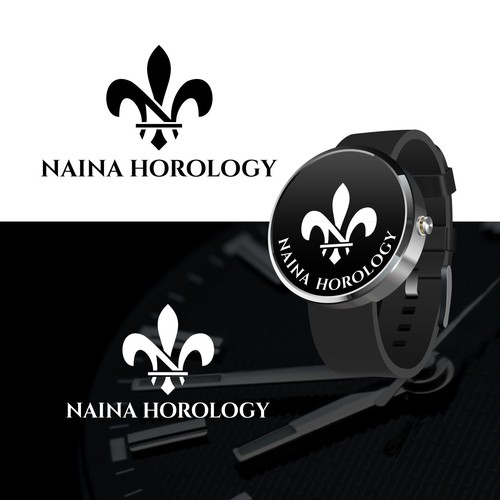 Fleur de lis design with the title 'a watch company NAINA HOROLOGY'