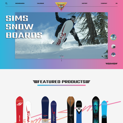 Concept website with the title 'Bright & Light website concept for SIMS Snowboards'