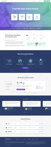 Listing design with the title 'Landing page for financial business listing'