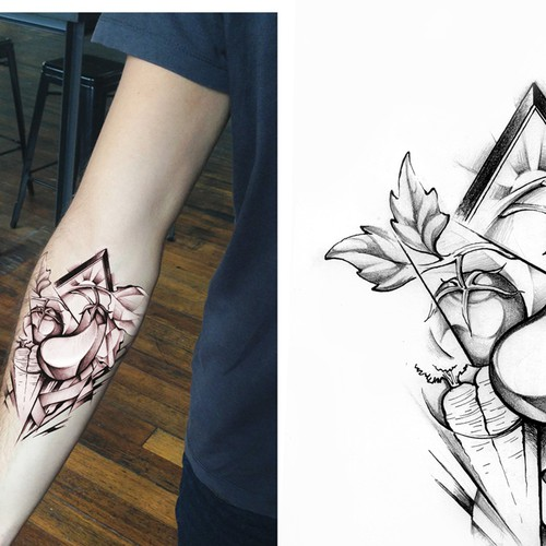 Grayscale design with the title 'Eggplant tattoo'