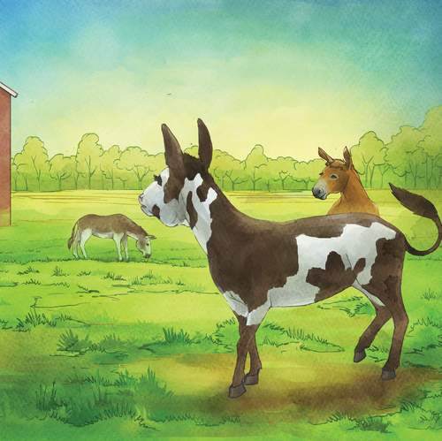 Farm illustration with the title 'Full page spread'